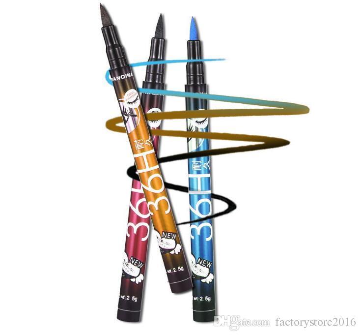 2017 أحدث 4 ألوان yanqina 36 h ماكياج كحل قلم ماء أسود كحل القلم لا تزهر الدقة السائل العين اينر
