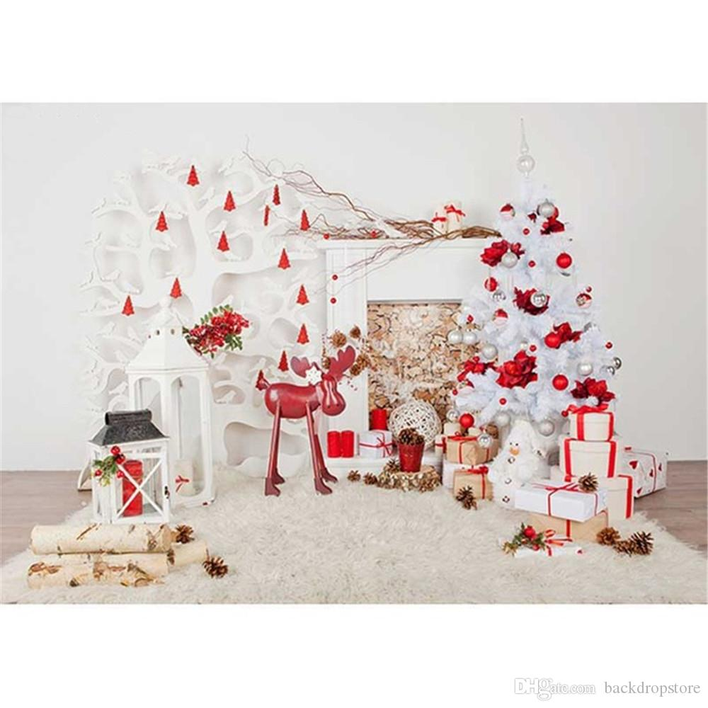 2018 White Christmas Tree Horizontal Photography Backdrop Pure Color ...