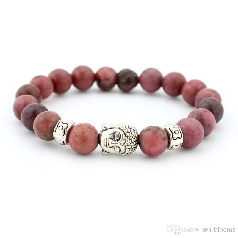 Healing Energy Stone Bracelet Ancient Silver Buddha Nature Stone 24 Styles Bead Stretch Bracelets For Women Men Fashion Jewelry Gift B333S