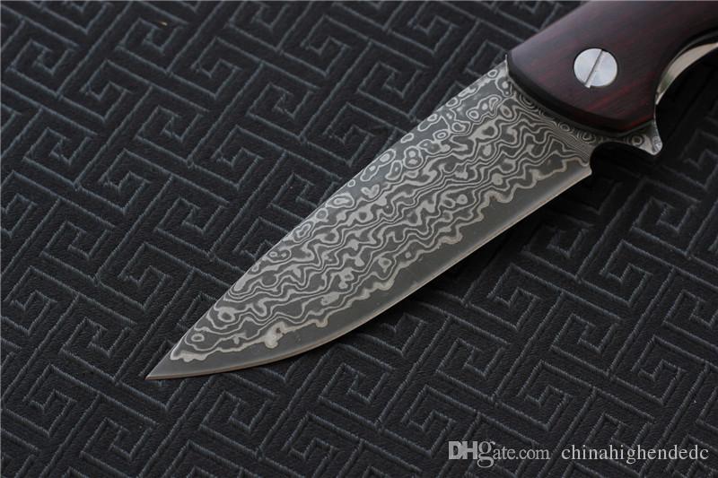 Freies Verschiffen hohe Qualität F3 Damaskus Messer Klinge Kugellager Waschmaschine Holzgriff, Outdoor Camping Jagd Überleben Messer EDC Werkzeuge