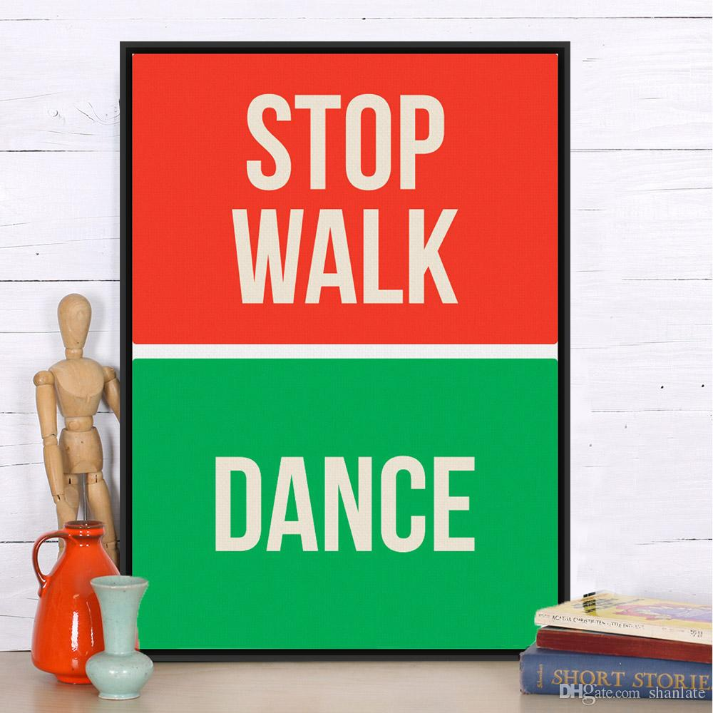 2017 novelty gift stop walk dance words pattern red green home