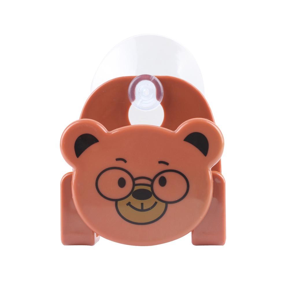 Cute Kawaii Cartoon Bear Wall Mounted type Bath Storage Box Animal Cat Soap bar Holder Kitchen Tools Sponge Drain shelf bag
