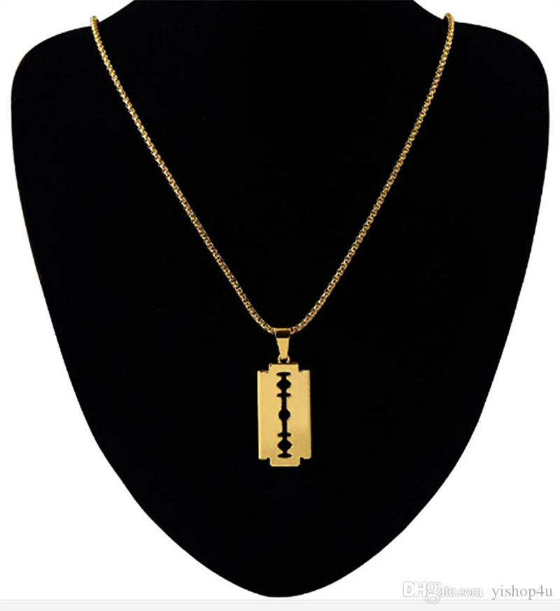 Wholesale MenS 18k Real Gold Plated Razor Blade Necklace