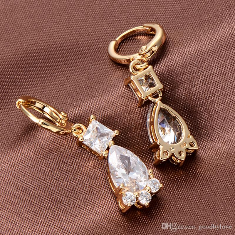 Available 18K Yellow Gold Plated Square CZ Teardrop Zircon Charm Drop Dangle Earrings Fashion Womens Jewelry Bijoux for Party
