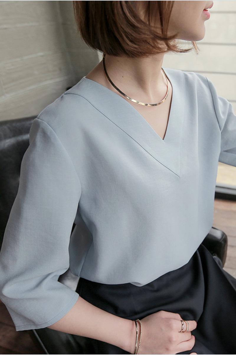 heißer Verkaufsfrühlingssommer koreanischer beiläufiger V-Ansatz loses Chiffon- Blusenhemd der Frauen plus weiße rosafarbene Damenbluse der Größenoberteile blusas