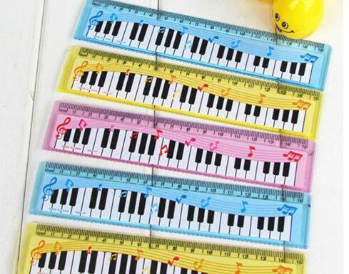 무료 배송 재미 다채로운 15cm 만화 피아노 뮤지컬 참고 눈금자 책갈피 학교 학생 통치자 크리 에이 티브 선물 사랑스러운 통치자 키즈