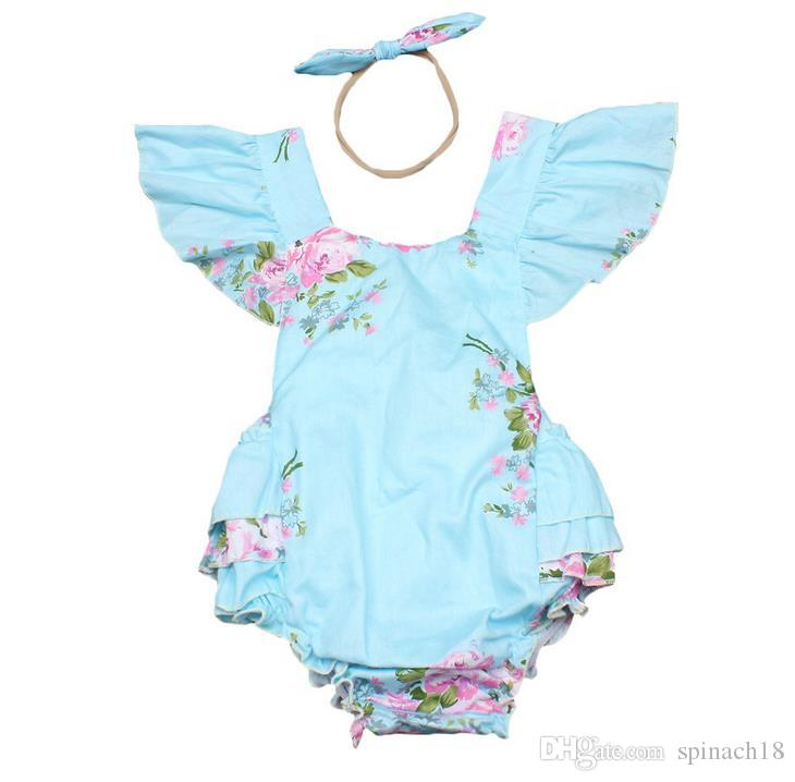 Ins Baby Girl Print Flower Rompers Cute Floral Lace Jumpsuits Hollow Back + Headband Two Piece Set Toddler Soft Cotton Blue Bodysuits 3367