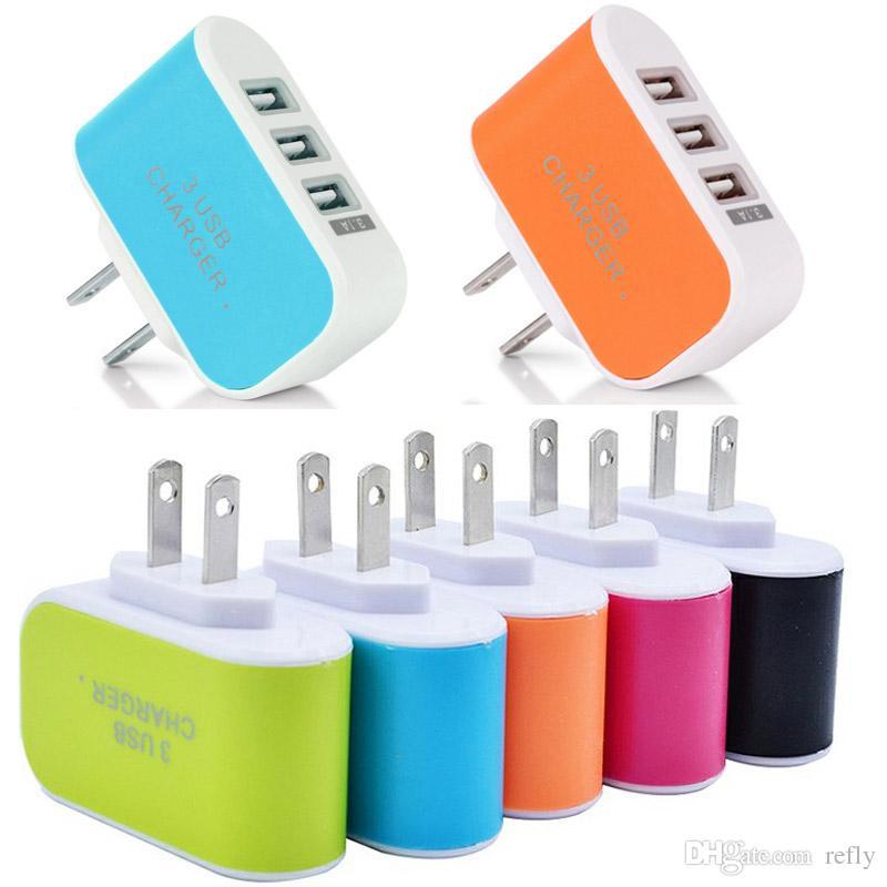 3 USB Chargeurs Muraux US Plug UE Chargeur Adaptateur De Voyage Voyage Adaptateur Universel avec triple Ports USB Pour Téléphone Mobile