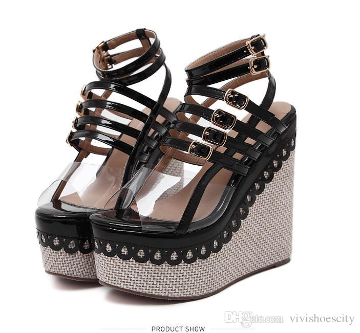 3ca20a005b5 Vivi Lena Straw Woven Patchwork PVC Transparent Small Buckles Ankle Strap Platform  Wedge High Heel Sandals Red Black Size 34 To 40 Shoes Uk Flat Sandals ...