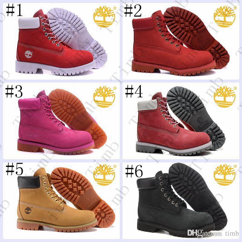 Brand New Timberland Women 10061 6 Inch Leather Premium Ankle Boots For  Women Outdoor Waterproof Red Pink Winter Snow Boots Size 36 39.5 Mens  Chelsea Boots ... 58451ad61