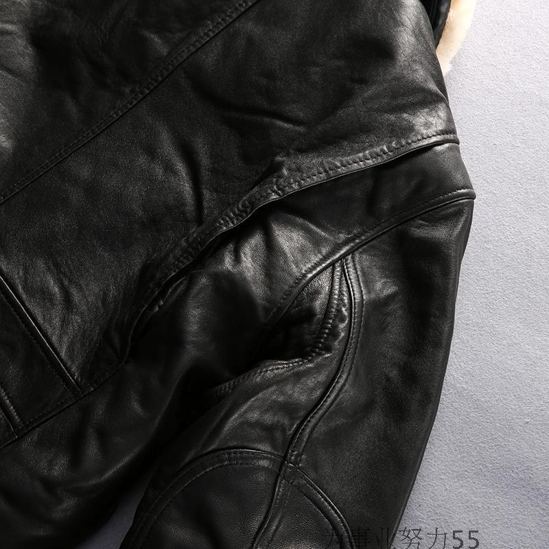 Nova chegada cordeiro gola de pele de gola lapela AVIREX FLY homens jaquetas de couro genuíno 100% jaqueta bomber vôo