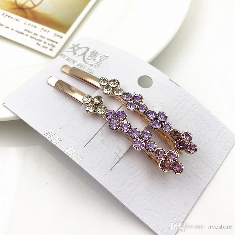 Hair jewelry women rhinestones clear pink purple colorful crystal hairclip brand jewelry hair grip pin alloy