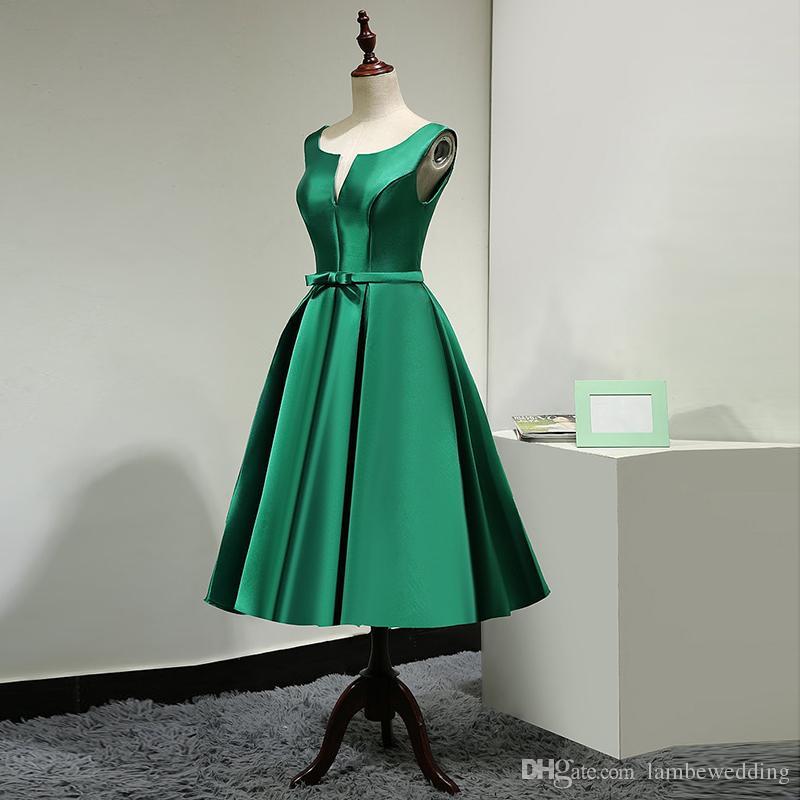 Best Sale 2017 Charming A-Line Real Photos V Neck Tea Length Short Prom Dress Satin With Bow Party Dress Custom-made vestido de festa