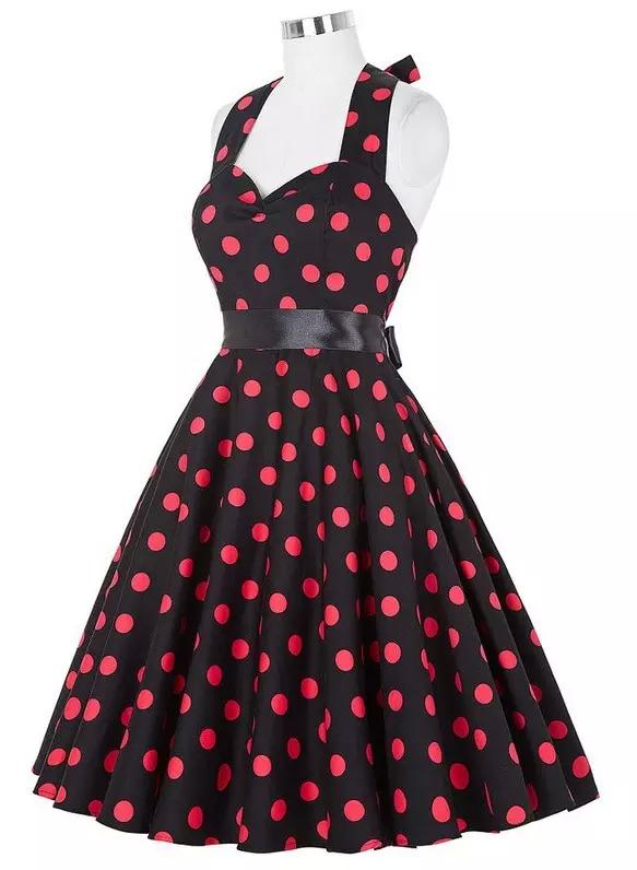 Womens Summer Style Vintage Casual Dresses Plus Size 50s 60s Robe Retro Pin  Up Big Swing Polka Dot Rockabilly Dress