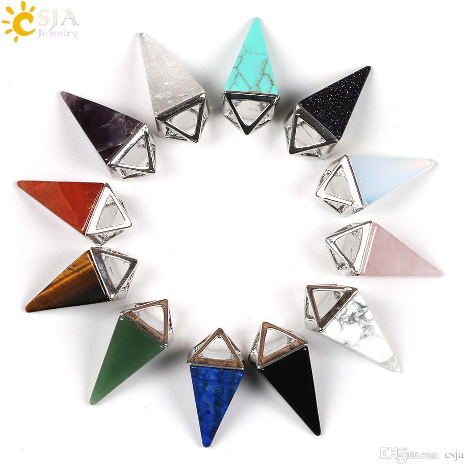 CSJA 여성 남자 보석 목걸이 테이퍼 진자 만들기 피라미드의 매력 펜던트 쥬얼리 리얼 쿼츠 블랙 옥수 건강 크리스탈 E104 B 로즈
