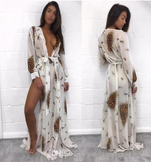 Deep V split Beach Maxi Dresses Sexy Boho Long sleeves Leopard floral print Women Swimsuit bikini blouse skirt wholesale-2017