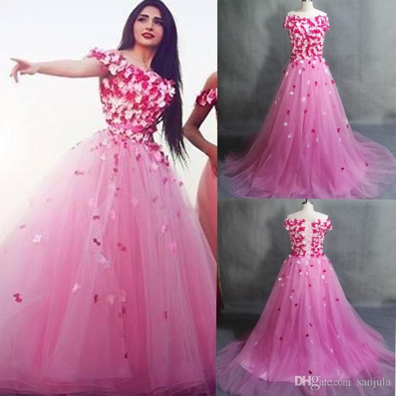 Fairy Pink Party Dresses With Flowers A Line Boat Neck Off Shoulder ...