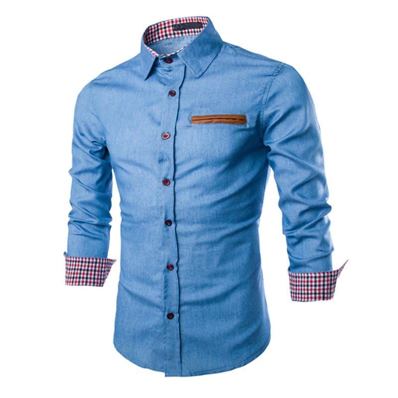 2017 Men'S Shirt Jeans Shirts Long Sleeve Stylish Shirt Men Casual ...