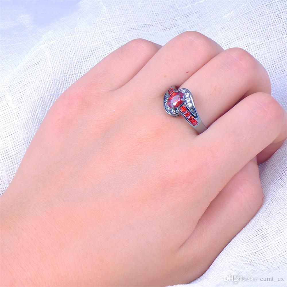 Anel Feminino Moda Branco Preto de Ouro Preenchido Jóias Anéis De Casamento Do Vintage Para As Mulheres de Aniversário Presentes de Pedra