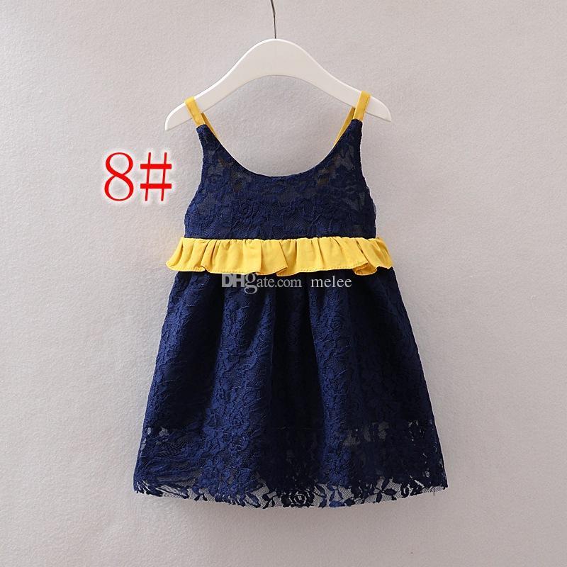 INS Mädchen-Baumwollspitze-Kleid-Kind-Kleidungs-Sommer-Stickerei-Spitze-Kleider arbeiten sleeveless Diamant-Prinzessin Dress wählen freies Schiff um