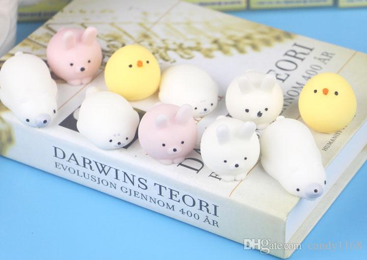 13 styles Wholesales Kawaii Press Doll Stretch Japan Sea lions, polar bear, lamb, chicken, duck,rabbit,animal Mochi Squishy Squeeze Toy