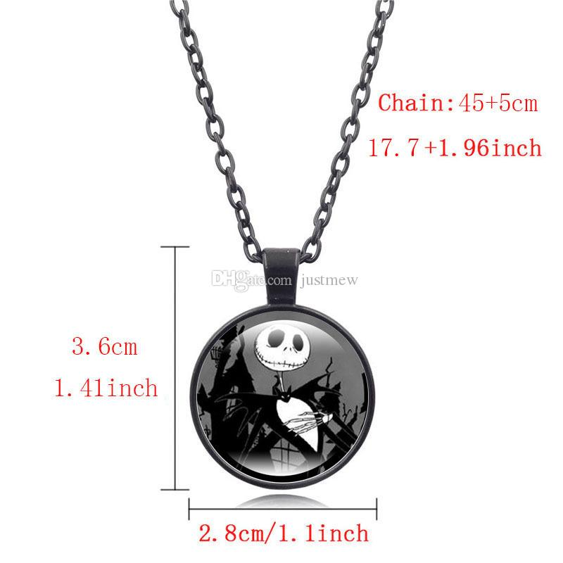 Hot!Classic Style Jewelry with Glass Cabochon Nightmare Before Christmas Jack Pattern Choker Long Pendant Necklace for children Party