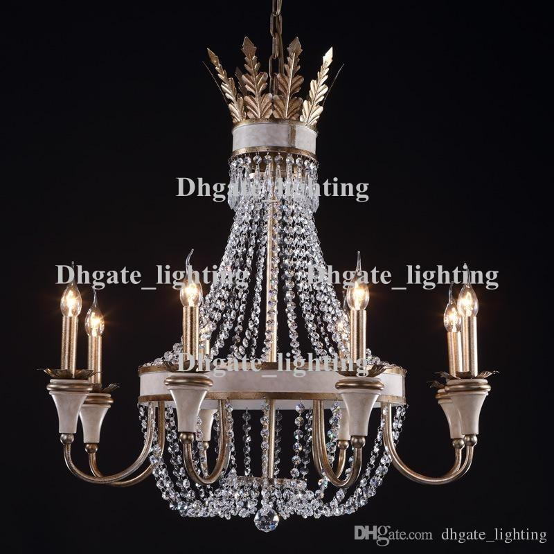Vintage Retro Crystal Chandelier Lamps Wrought Iron Large Lighting For Hotel Lobby Living Room Island Pendant Lights Over