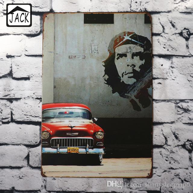 Retro Red Car Wall Decor 20 30cm Metal Plaques Gallery Coffee Shop
