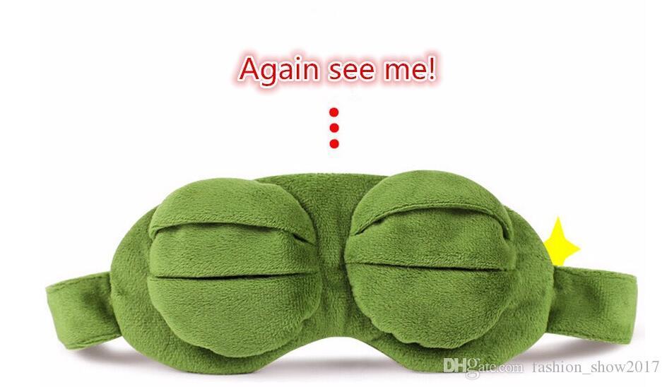 Fashion Kawaii Travel Sleep Eye Mask 3D Sad Frog Padded Shade Cover Sleeping Closed/Open Eye Funny Mask