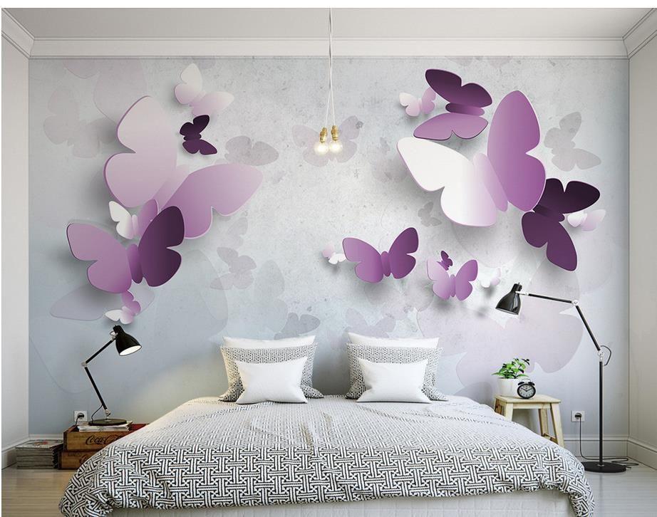 Top klassische europäische Art 3D-Schmetterling TV Wand-Fresko Wand 3D Wallpaper 3D-Tapeten für tv Hintergrund