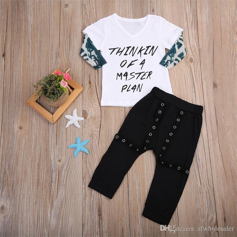 Baby Boutique Garçons Vêtements enfants Vêtements pour tout-Outfit Automne Chemise à manches longues + longues Pantalons refroidissent enfants Costume Sport Survêtement