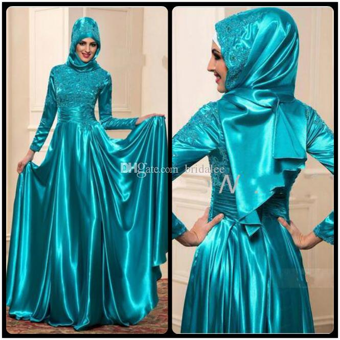 Muslim Evening Dresses with Long Sleeves A Line High Neck Vestido De Festa Lace Evening Formal Wear Emerald Dinner Party Gowns