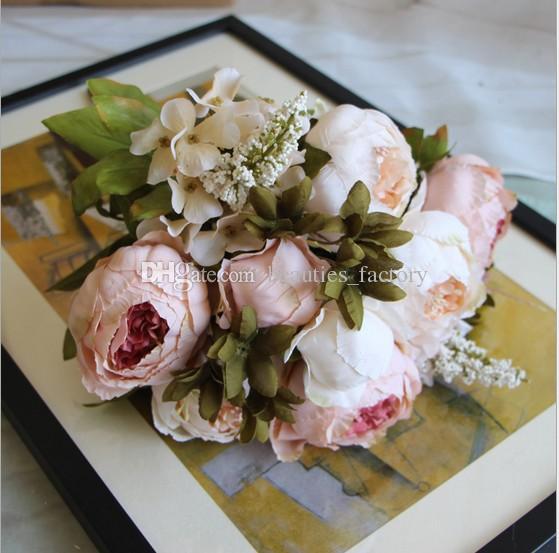 Yapay İpek Şakayık Çiçek 1 Buket 8 Kafa Sahte Yaprak Ev Partisi Bahçe Düğün Dekor Pembe / Mor / Hotpink