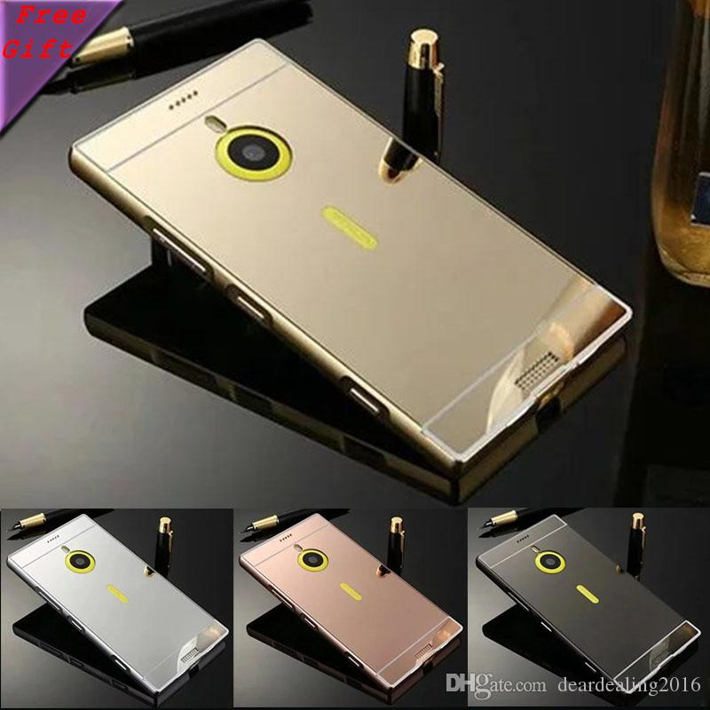 another chance 7df3d 13d4b For Nokia Lumia 1520 case Golden Plated Armor Aluminum Metal Frame Mirror  Acrylic Back Cover Case For Nokia 1520 RM-937 RM-938