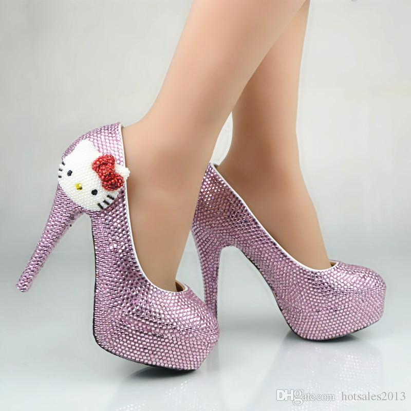 2017 Güzel Rhinestone Düğün Ayakkabı Pembe Kristal Yuvarlak Ayak Gelin Elbise Ayakkabı Kitten Başkanı Platformu Topuklar Külkedisi Balo Pompaları
