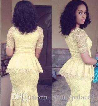 African Fashion Vestido Longo O Neck Short Sleeve Mermaid Floor Length prom Gown Yellow Lace Elegant Nigeria Style Evening Party Dresses