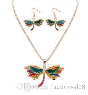 Smalto Sea Horse Angel Wing Collana Butterfly Starfish Orecchini Set placcato argento polsino dell'orecchio del pendente Maxi gioielli dello smalto regalo delle donne bene