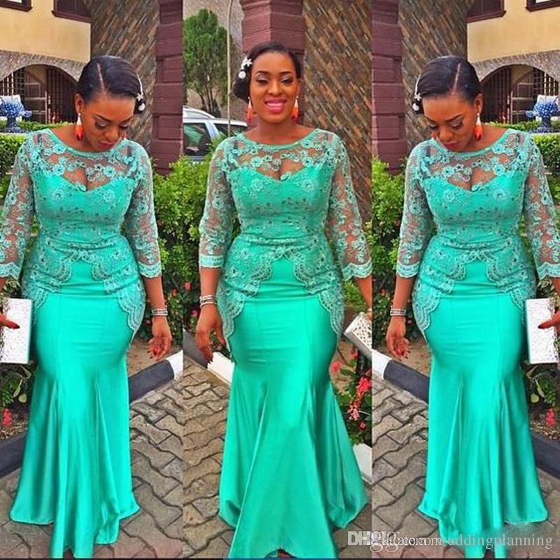 African Mermaid Turquoise Prom Dress 2017 Lace Nigeria Long Sleeve Mother Prom Dresses Aso Ebi Style Evening Plus Size Party Gowns
