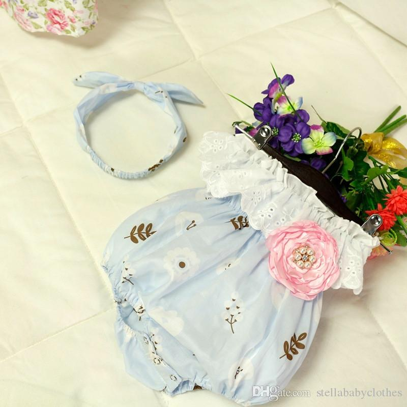 Summer Lace Baby Girls Bodysuit Birthday Party Girls Clothing Bunny Printed Baby Girls Romper Hot Sales