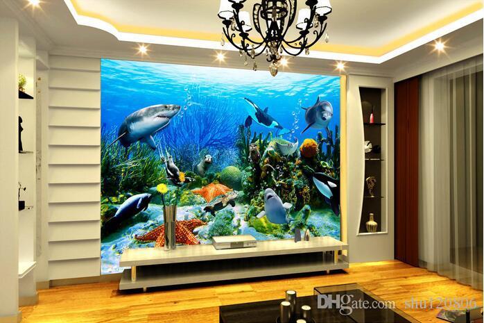 Underwater Wall Mural 3d room wallpaper custom photo mural underwater world dolphin