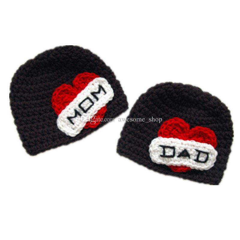 I Love My Mom and Dad,Handmade Knit Crochet Baby Boy Girl Twins Hat,Newborn Valentine Day Winter Hat,Toddler photo Porp
