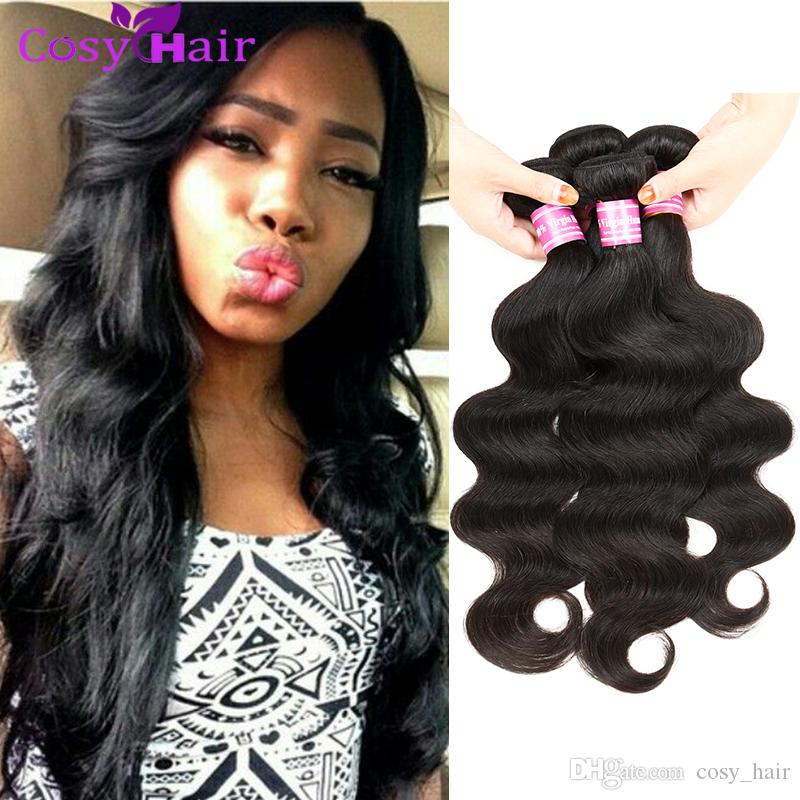 Brazilian Virgin Human Hair Bundles Cheap Brazilian Malaysian Mongolian Remy Human Body Wave Hair Extensions Weft Dyeable Natural Color #1b
