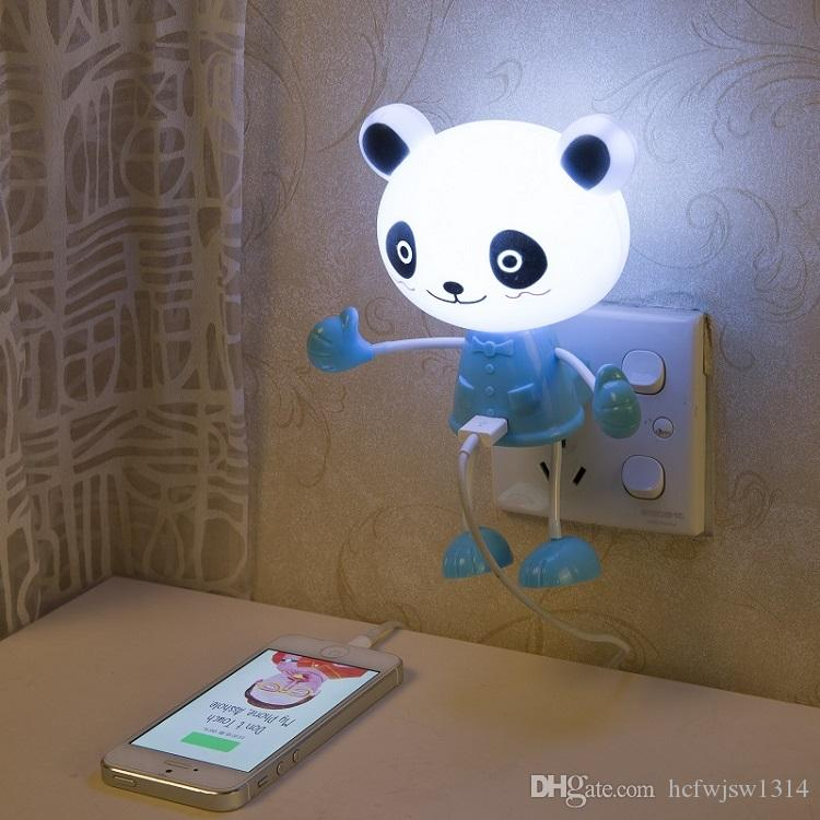 LED light sensor light electricity conversion USB charging socket with switch lights up the night light sleep nursing