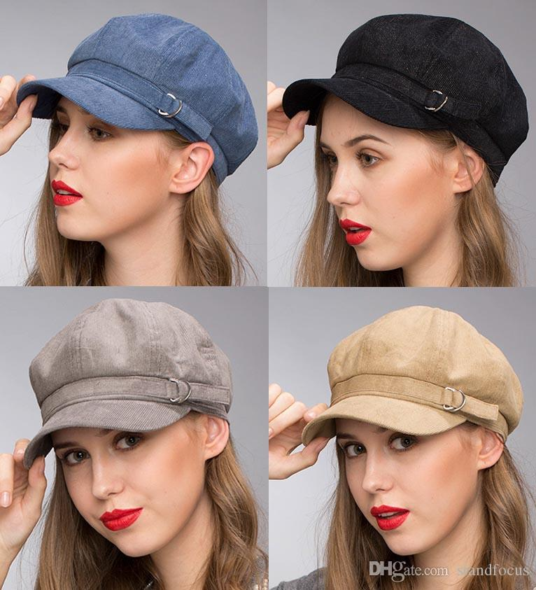 Stand Focus Women Cabby Baker Boy Gatsby Women Hat Newsboy Cap Ladies  Fashion Lurex Corduroy Fall Winter Spring Black Blue Gray Camel Buckle UK  2019 From ... ae2142b395a