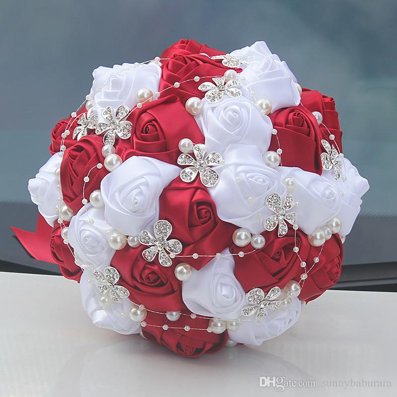 Wine Red White Wedding Bridal Bouquets Wedding Supplies Artificial