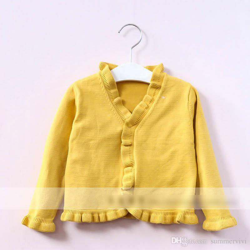 Children Cute Cardigan Sweater 2017 New Autumn Girls Cotton Ruffle ...