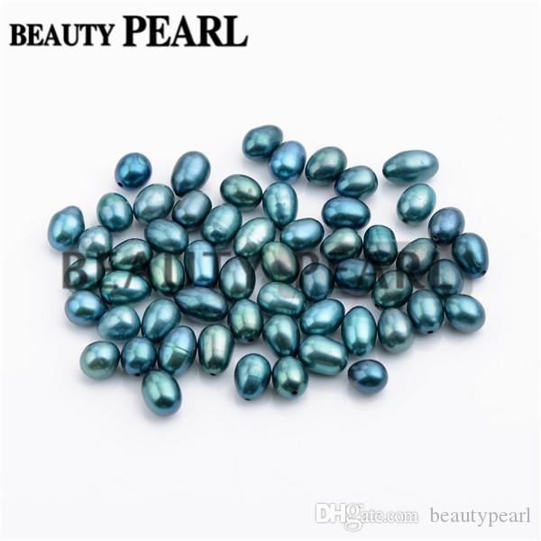 Wholesale Mixed 6-9mm Peacock Green and Blue Cultured Freshwater Pearls Half-drilled Teardrop Loose Pearl