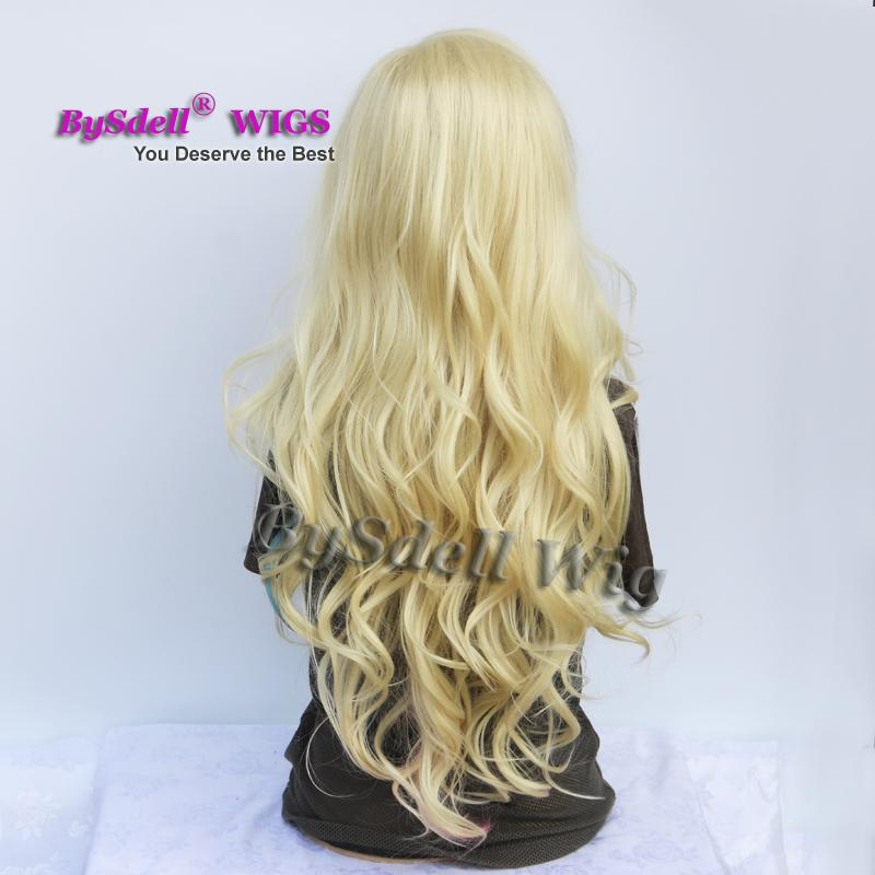 Premium Natural Long Wavy Solide Blonde Color Hair Wig Synthetic Heat Resistant Hair Custom Cosplay Party Wigs for Drag Queen