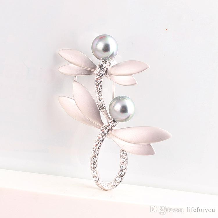 dragonflies jewelry cheap brooches pins fashion brooches gold brooch for wedding gifts for guest brooch with artificial pearl rhinestone