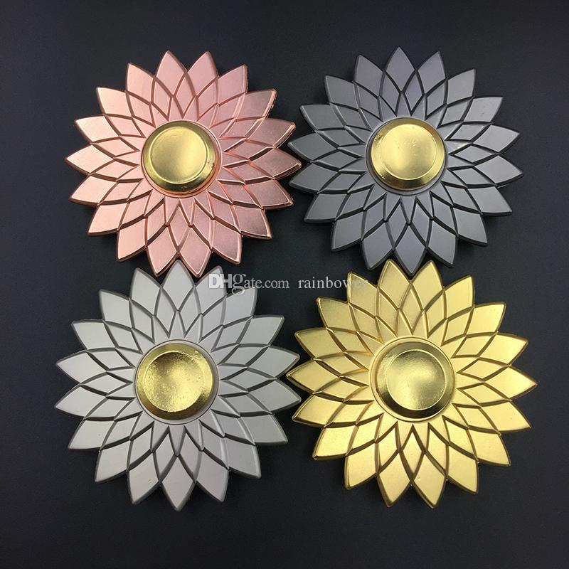 Top quality lotus flower zinc metal fidget spinners decompression top quality lotus flower zinc metal fidget spinners decompression anxiety toys stress reduce water hibiscus toy in retail box string top toy spinning top mightylinksfo